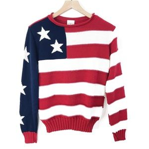 VINTAGE American Flag Sweater Size Small